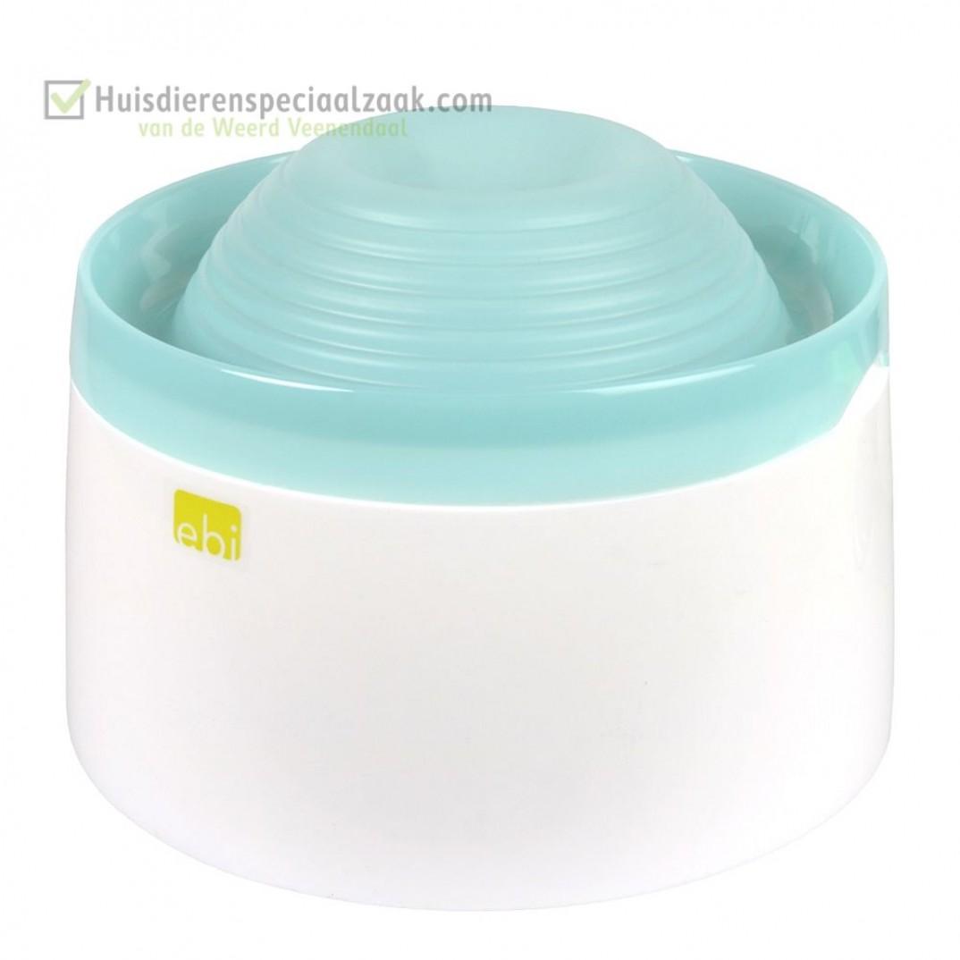 Mango drinkfontein met inhoud van 1,5 liter en de kleur blauw, voor kleine honden en katten