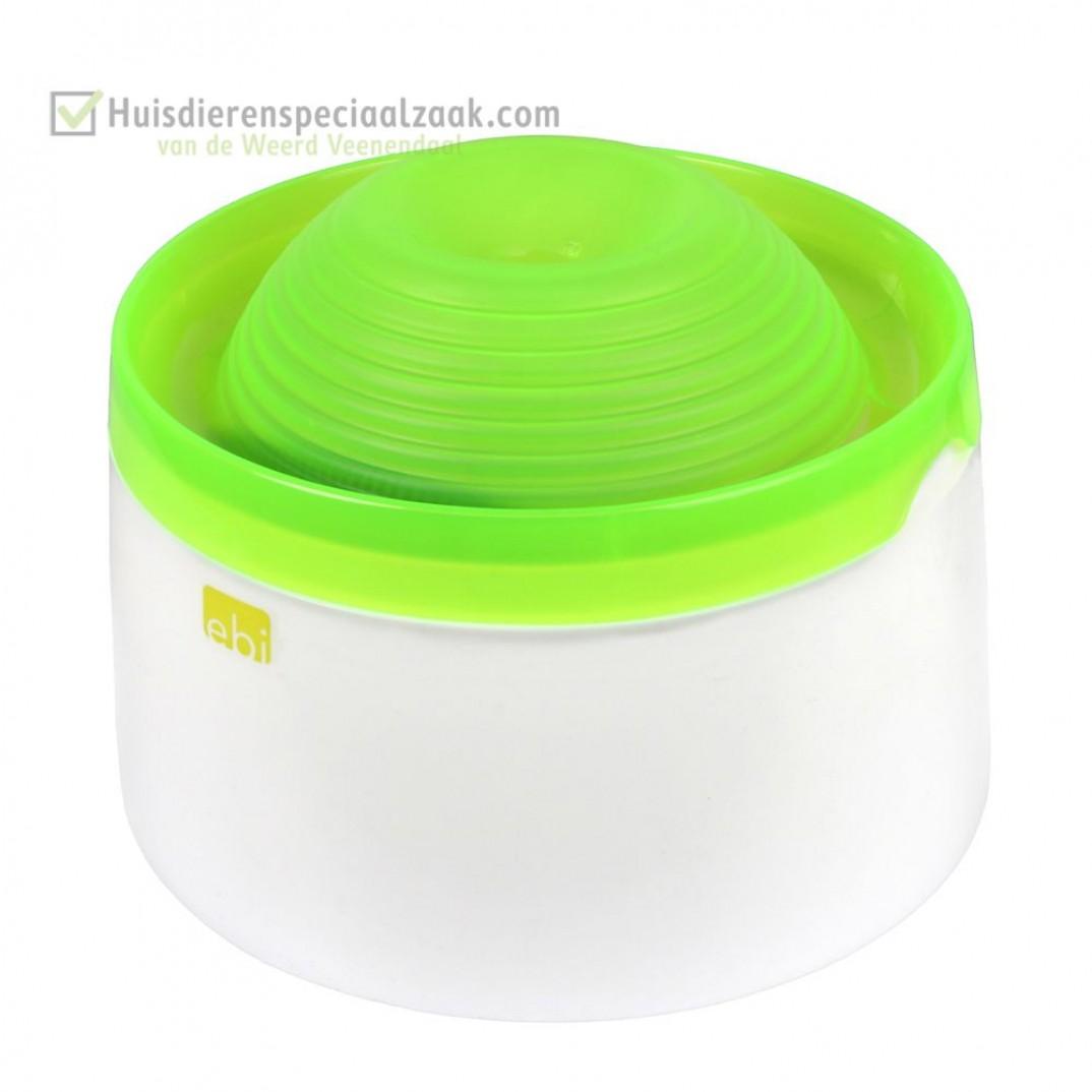 Mango drinkfontein met inhoud van 1,5 liter en de kleur groen, voor hond en kat