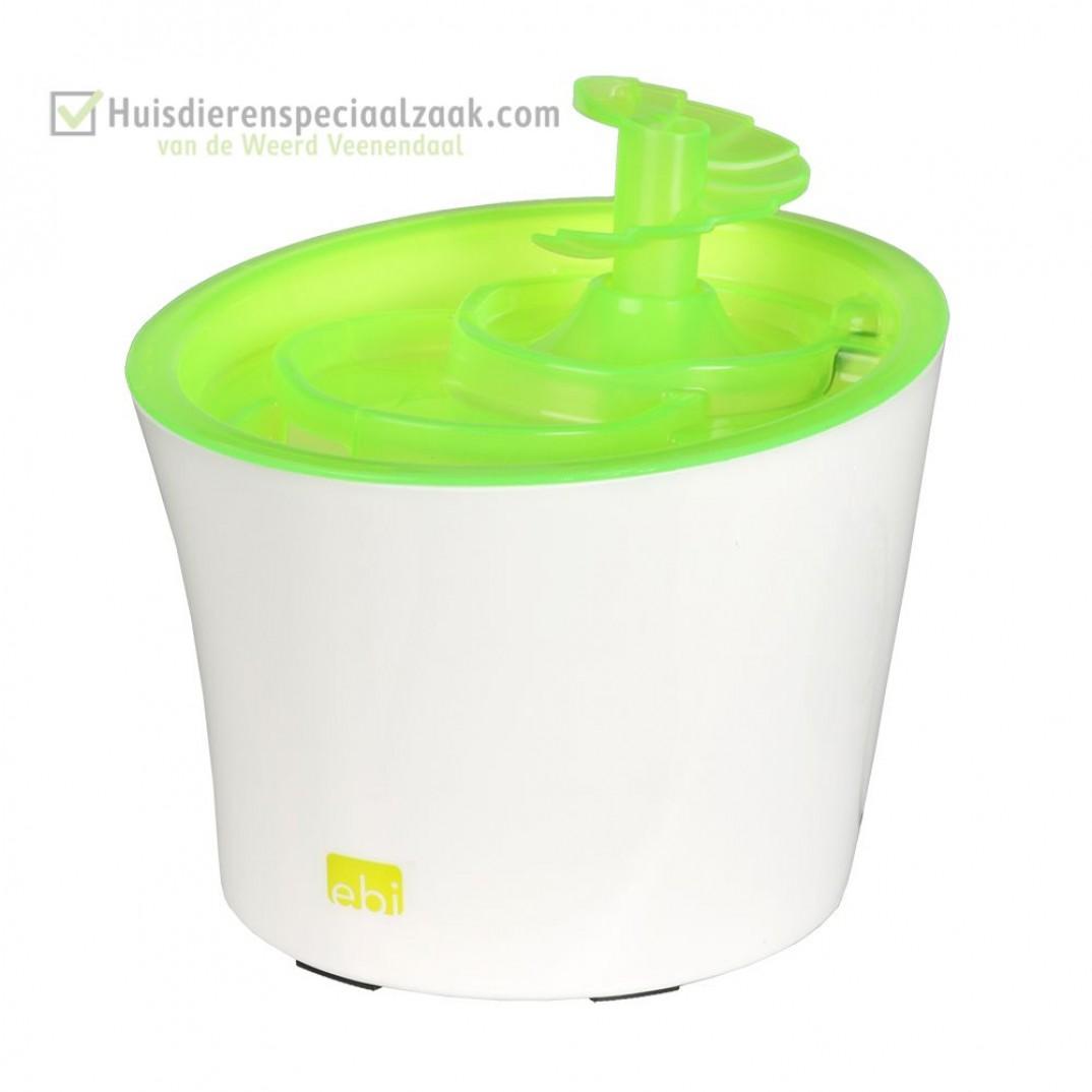 Tugela Drinkfontein met inhoud van 3 liter en de kleur lime groen, voor kleine honden en katten